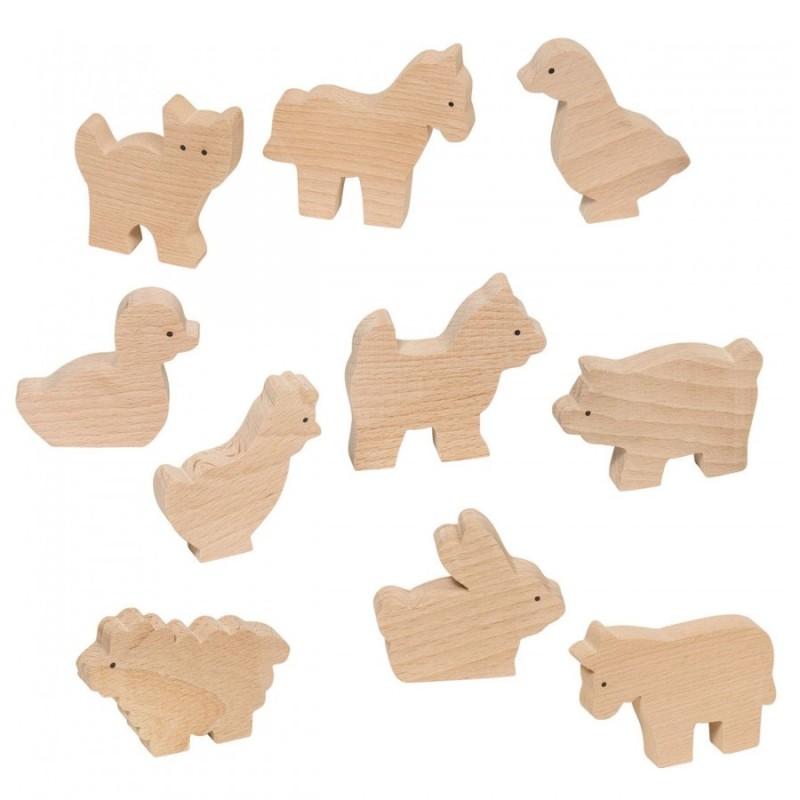Bauernhoftiere 10 Figuren aus Holz von Goki