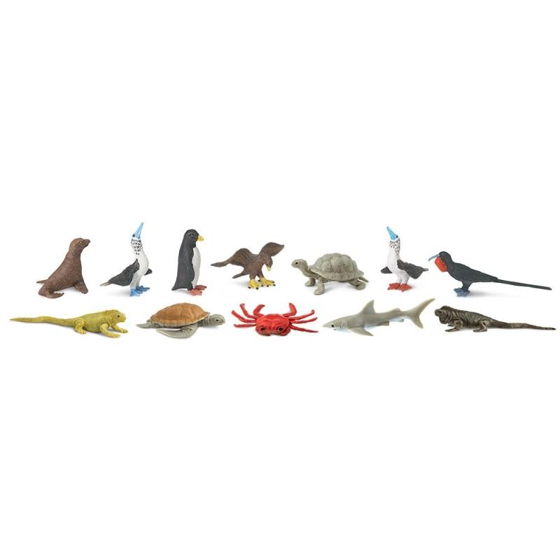 Tiere auf Galapagos - Set mit 12 kleinen handbemalten Figuren