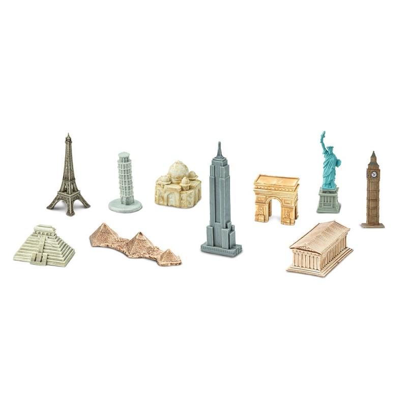 Sehenswürdigkeiten der Erde - Set mit 10 kleinen handbemalten Figuren