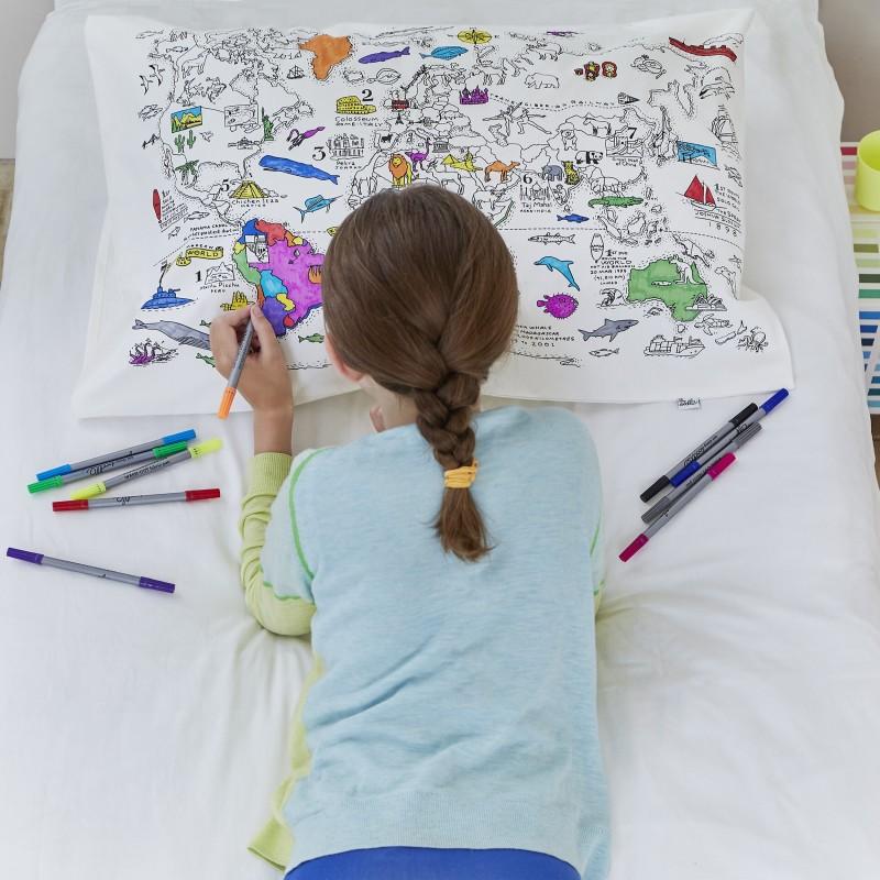 Weltkarte Kissenbezug zum Ausmalen, inkl. auswaschbare Stifte