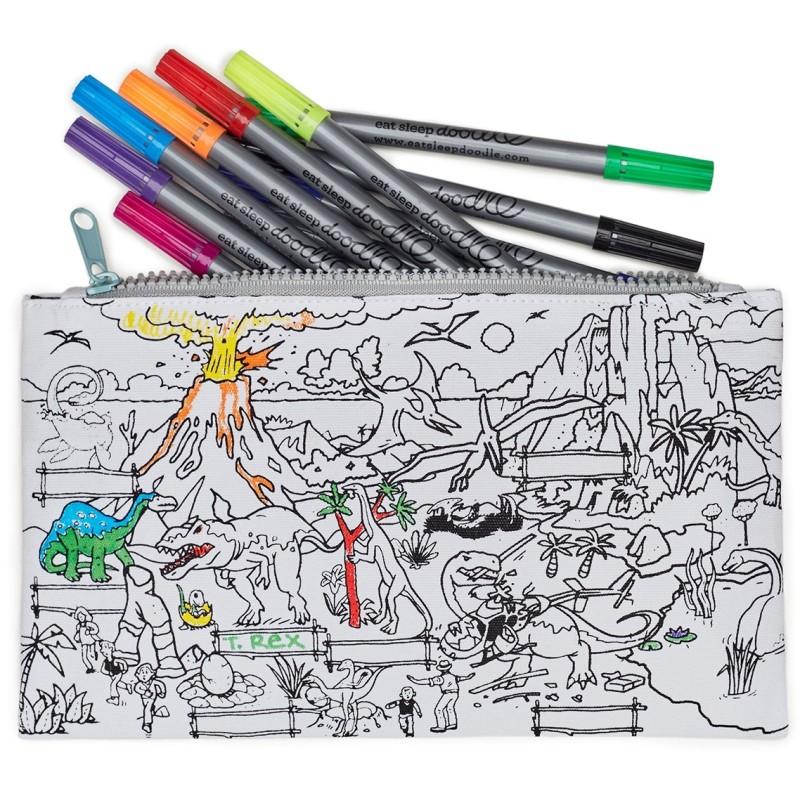 Dinosaurier Stiftemäppchen, inkl. auswaschbare Stifte