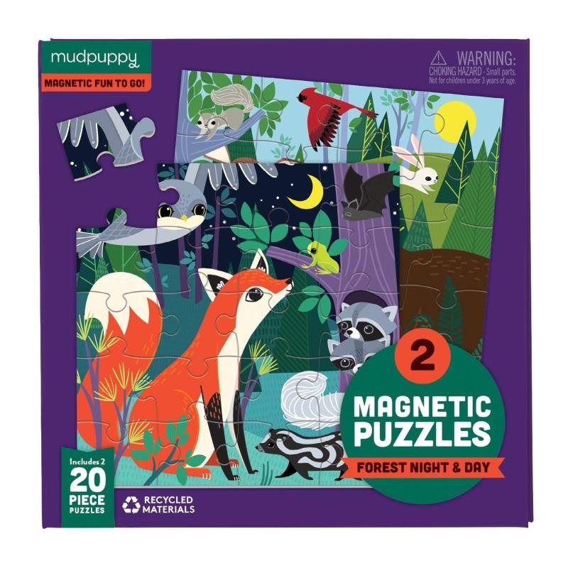 Magnetische Puzzle Waldtiere am Tag und in der Nacht von Mudpuppy