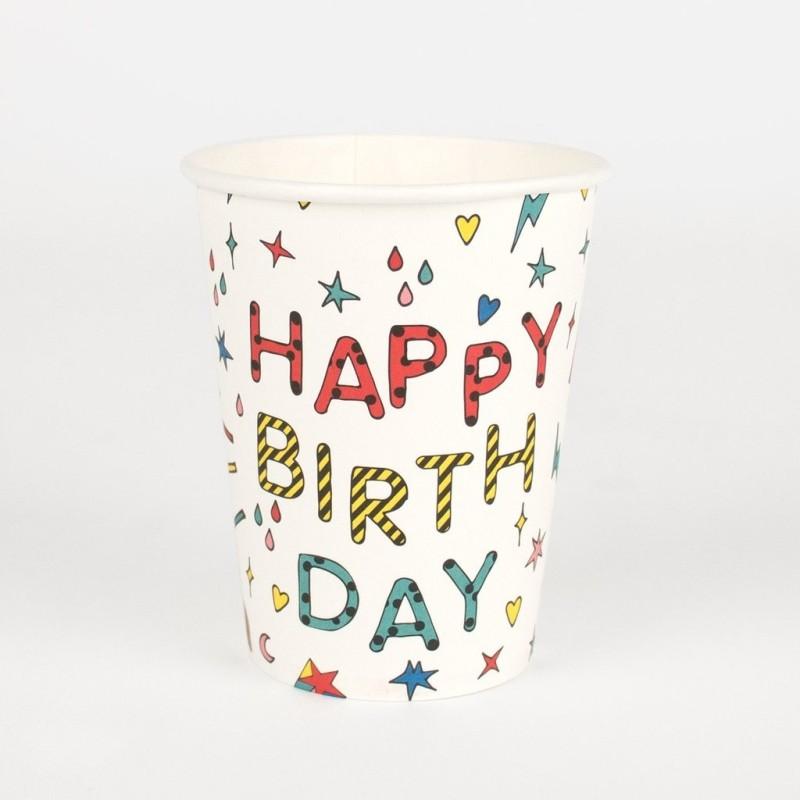 My Little Day - 8 Pappbecher Happy Birthday