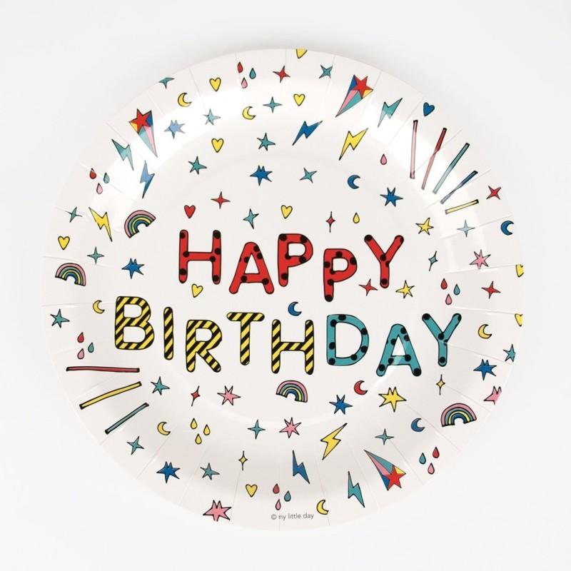 My Little Day - 8 Pappteller Happy Birthday