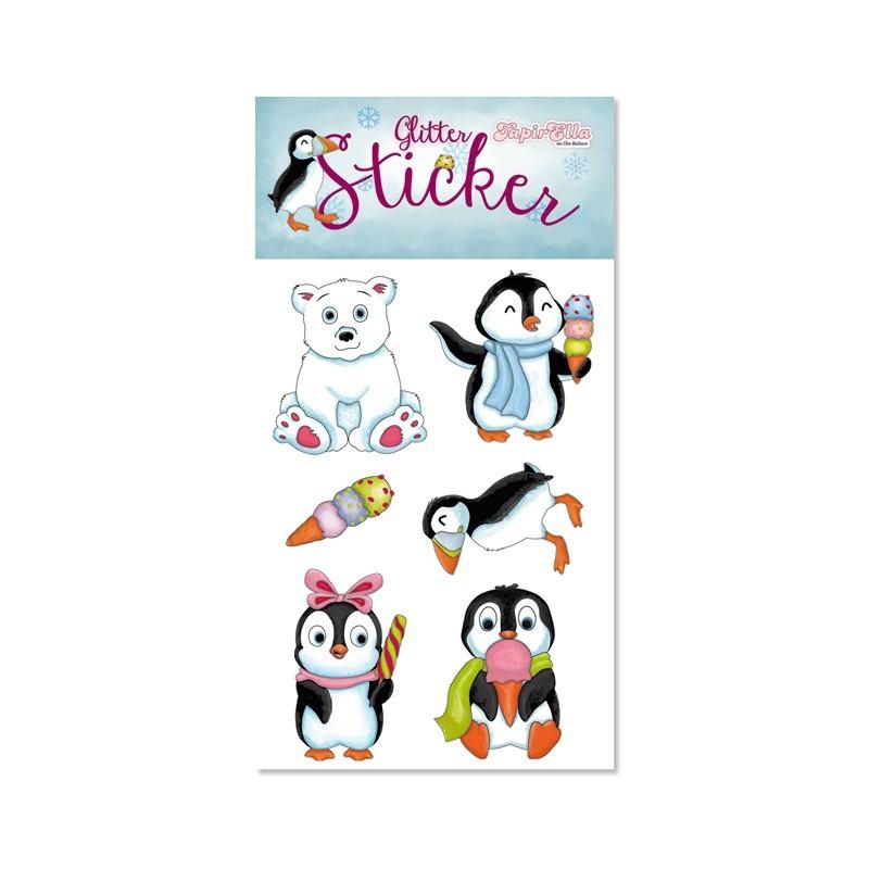 Glitter Sticker Arktis mit Pinguinen von Lutz Mauder