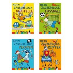 Mein Zauberblock Baustelle, Fussball, Ritter & Piraten