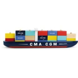 Schiff mit Stapelcontainern aus Holz von Vilac