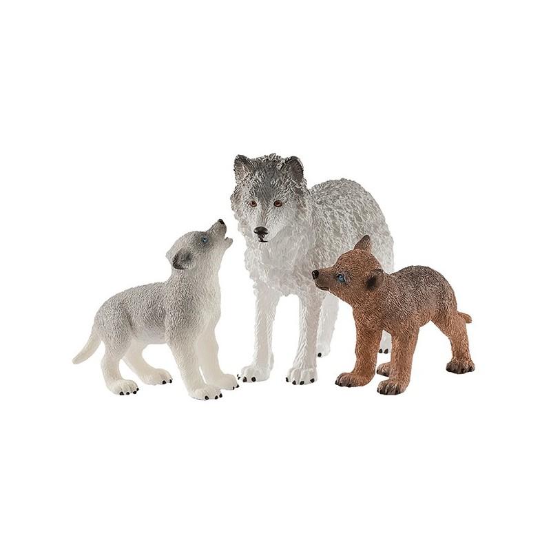 Schleich Tiere Wolfsmutter mit Welpen