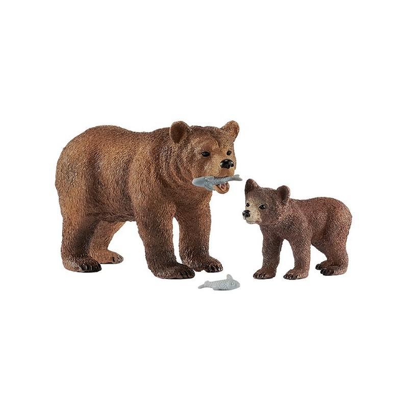 Schleich Tiere Grizzlybär Mutter mit Jungem