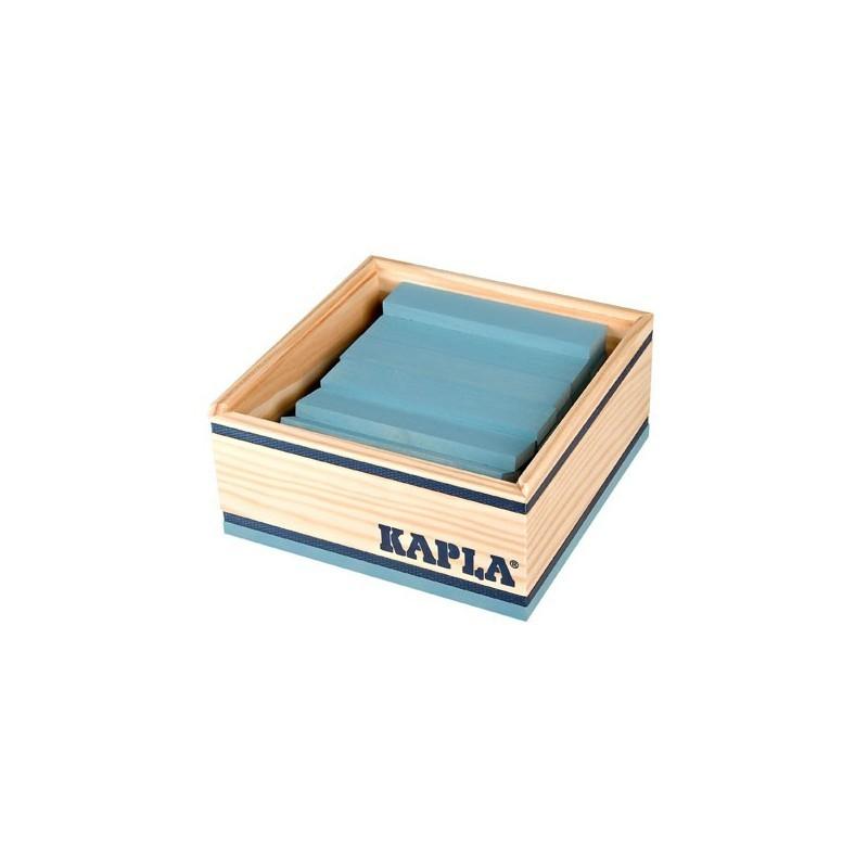Kapla Baukasten mit 40 Holzplättchen in hellblau