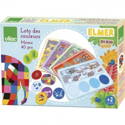 Farbenlotto & Memo Spiel Elmar aus Holz von Vilac