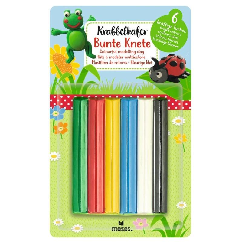 Krabbelkäfer Bunte Knete in 6 kräftigen Farben