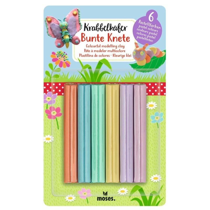 Krabbelkäfer Bunte Knete in 6 Pastellfarben