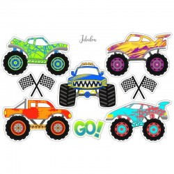 Wasserfeste Sticker Monster Trucks von Jabalou