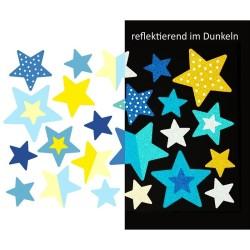 Wasserfeste reflektierende Sticker Sterne in blau und gelb von Jabalou