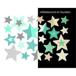 Wasserfeste reflektierende Sticker Sterne in mint und grau von Jabalou