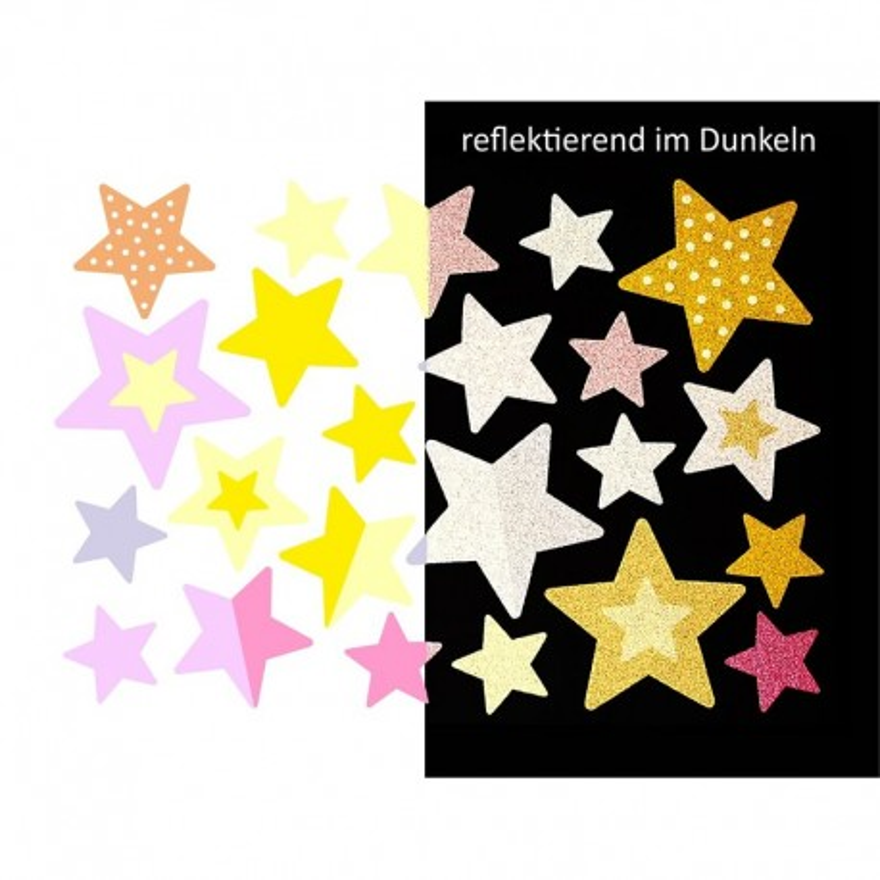 Wasserfeste reflektierende Sticker Sterne in pink und gelb von Jabalou