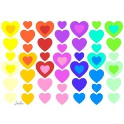 Wasserfeste Sticker Herzen Regenbogen von Jabalou