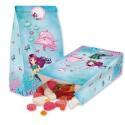 Party Meerjungfrau Coralie Treat bags - Papierbeutel mit Stickern für Mitgebsel