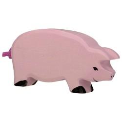 Holztiger Holzfigur Schwein rosa