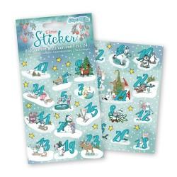 Adventskalender Sticker Winterzauber mit Zahlen und Sternen