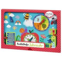 Krabbelkäfer Jahresuhr mit Kalenderuhr aus Holz