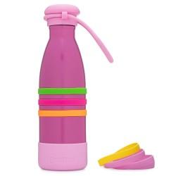 Yumbox Aqua - Edelstahl Trinkflasche mit Trageband in pink