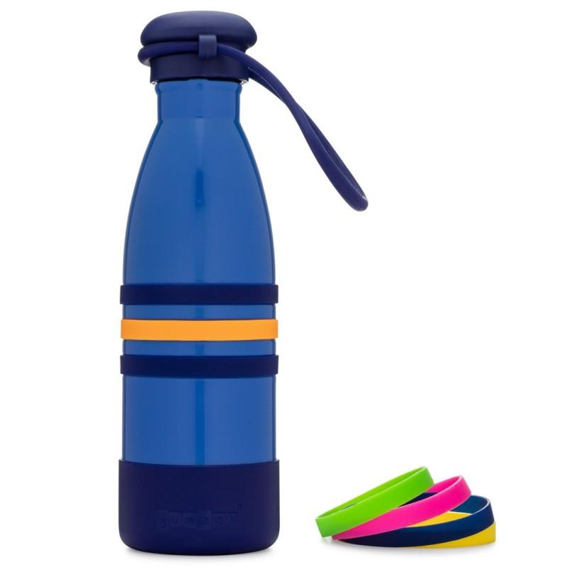Yumbox Aqua - Edelstahl Trinkflasche mit Trageband in blau