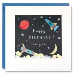 Geburtstagskarte Weltall Konfetti Shakies