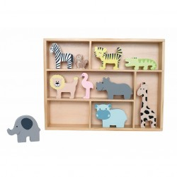 Holzfiguren Spielset Safari mit Regal von JaBaDaBaDo