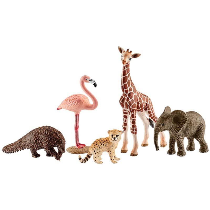 Wild Life Tier-Mix mit 5 Schleich Tieren