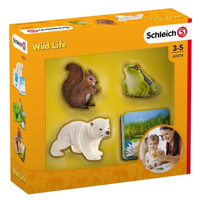 Schleich Wild Life Set mit 3 Schleich Tieren und Lernkarten