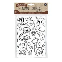 Ausmal Tischdecke aus Papier Zoo & Natur