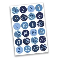 Adventskalender Zahlen Sticker in blau