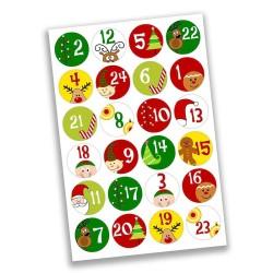 Adventskalender Zahlen Sticker Elf & Rentier
