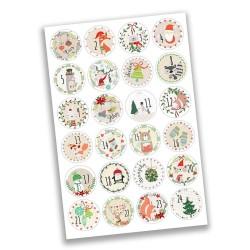 Adventskalender Zahlen Sticker Weihnachtstiere