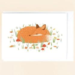 Geburtstagskarte Schlafender Fuchs