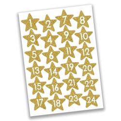 Adventskalender Zahlen Sticker Sterne