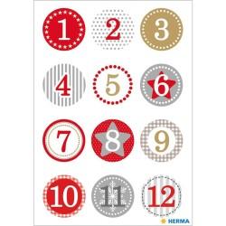 Adventskalender Zahlen Sticker in rot gold